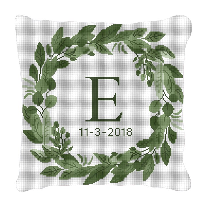Elegant Wreath Needlepoint Pillow