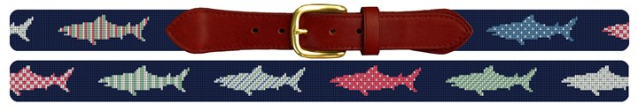 Preppy Great White Shark Needlepoint Belt