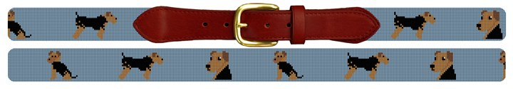 Airedale Terrier Needlepoint Belt
