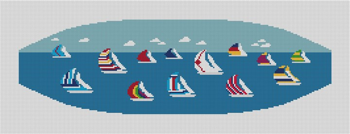 Preppy Regatta Cummerbund Needlepoint Canvas