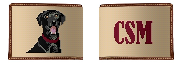 Black Labrador Monogram Needlepoint Wallet