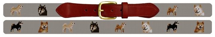Shiba Inu Needlepoint Belt