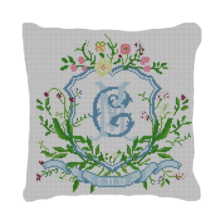 Floral Crest Wedding Needlepoint Pillow Canvas