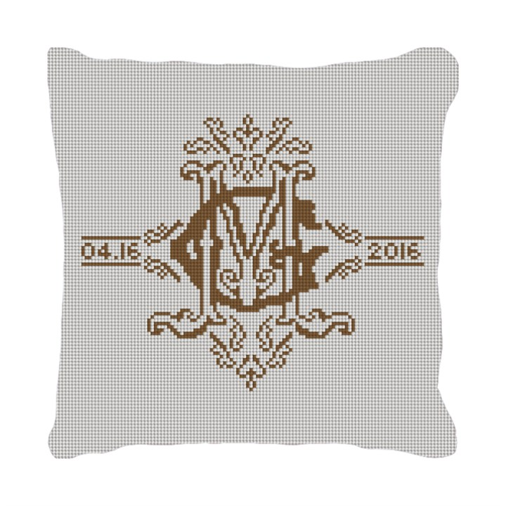 Ornate Monogram Needlepoint Pillow
