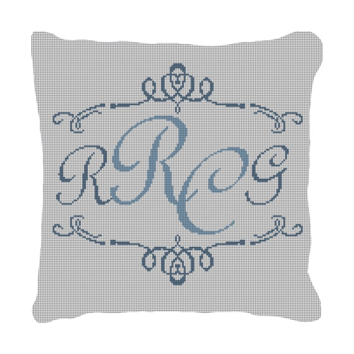 Two Initials Needlepoint Pillow Canvas