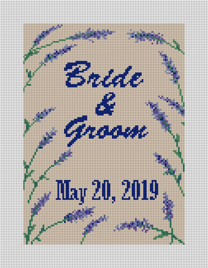 Lavender Wedding Needlepoint Canvas