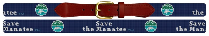 Save The Manatee Dark Blue Needlepoint Belt