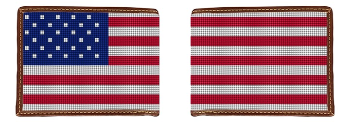 Patriotic US Flag Needlepoint Wallet Canvas