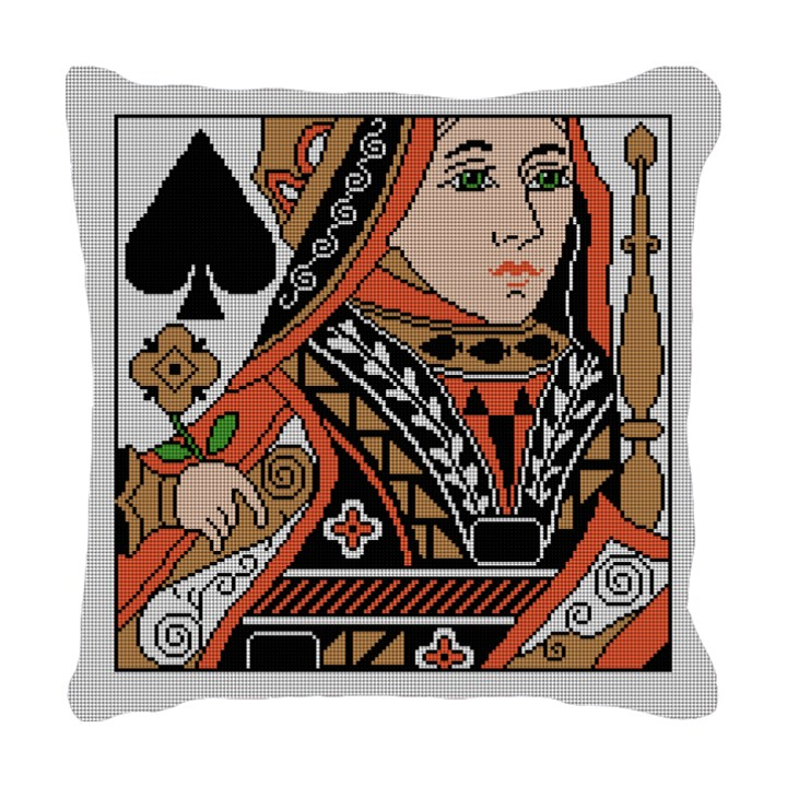 Queen of Spades Needlepoint Pillow
