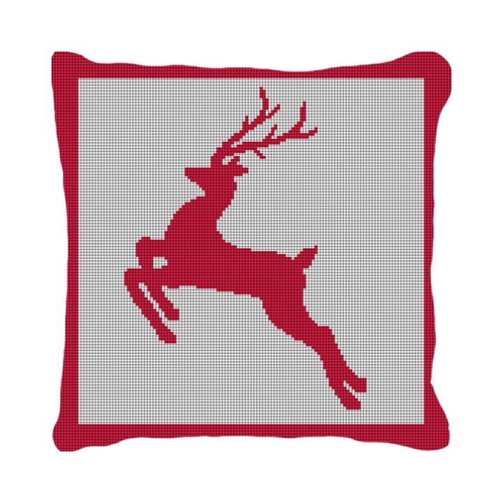 Festive Reindeer Needlepoint Pillow