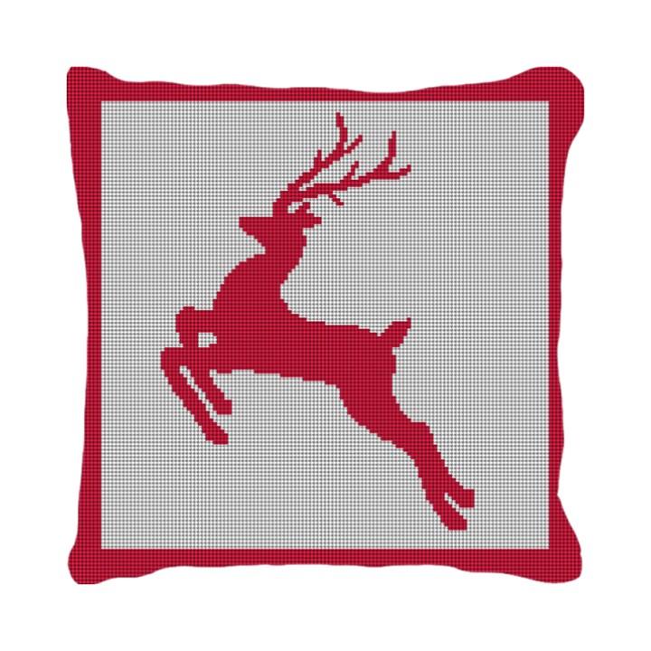 Festive Reindeer Needlepoint Pillow
