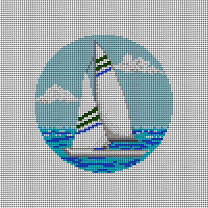 A Day of Sailing Needlepoint Ornament Canvas