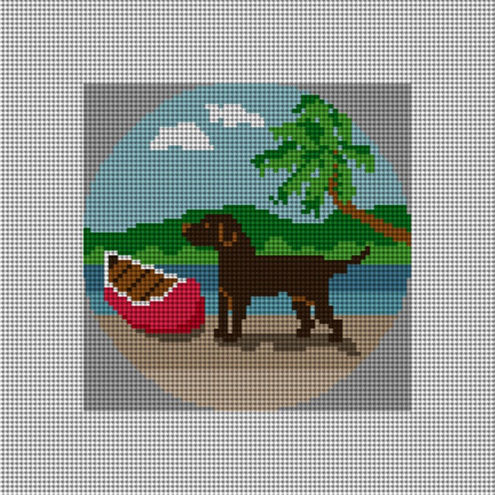Chocolate Lab Needlepoint Ornament Canvas