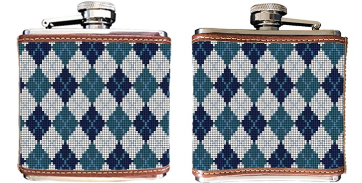 Preppy Argyle Needlepoint Flask