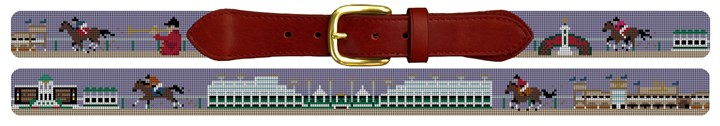 Louisville KY Horse Racing Needlepoint Belt