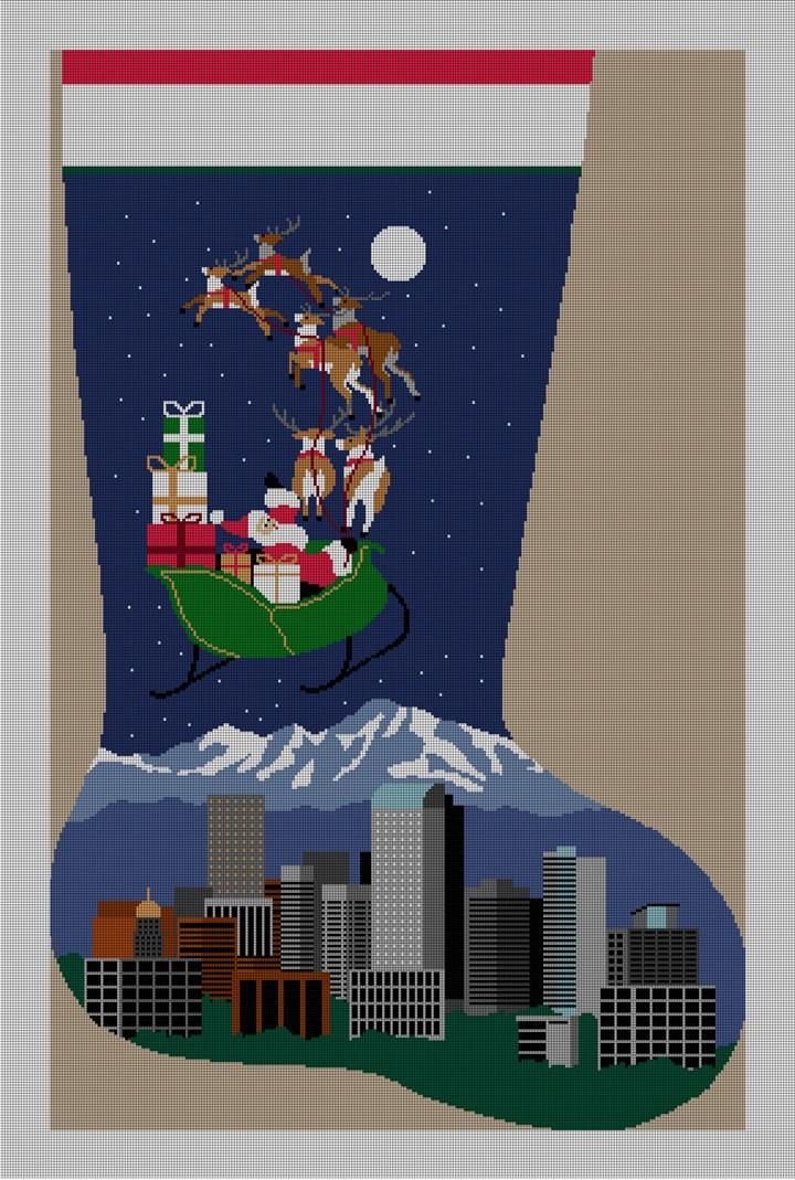 Denver Christmas Stocking Needlepoint Canvas