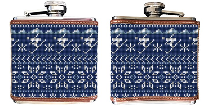 Winter Skiing Needlepoint Flask