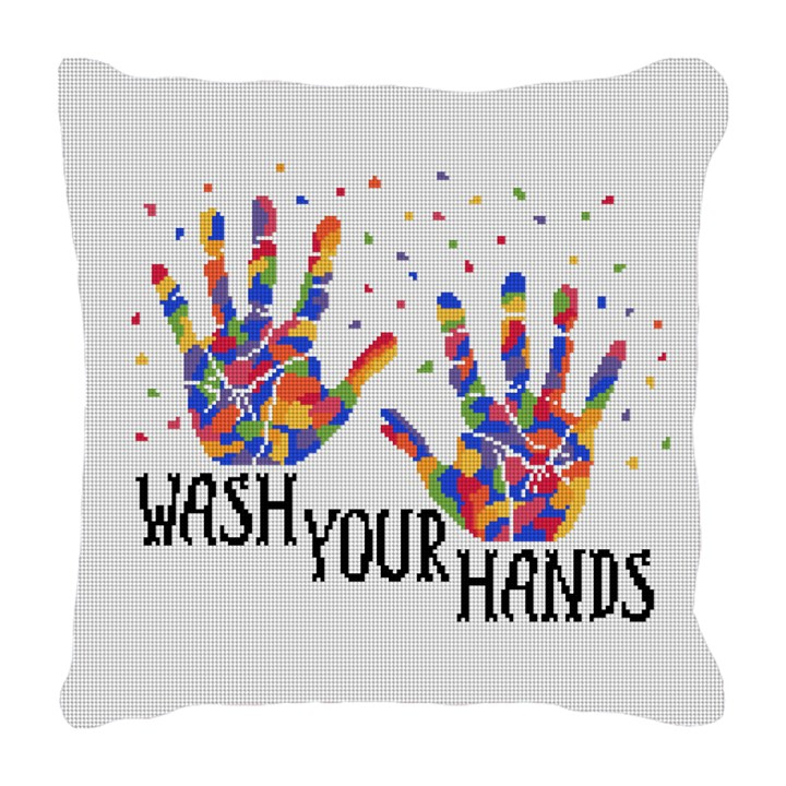 Clean Your Hands Needlepoint Pillow
