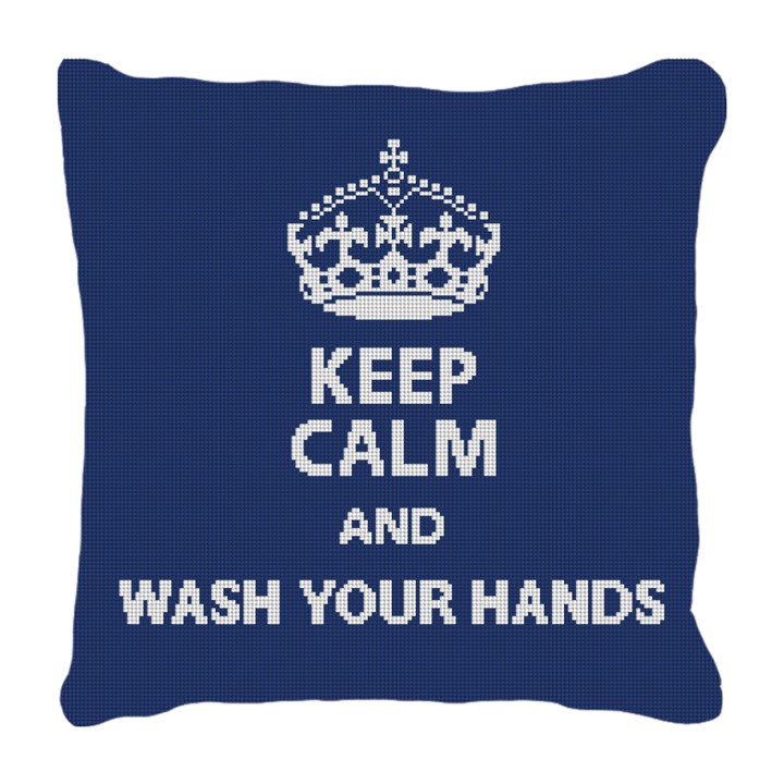 Keep Calm Wash Hands Needlepoint Pillow