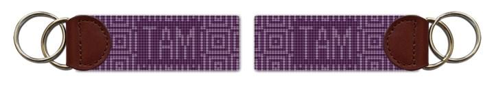 Jeweled Squares Needlepoint Key Fob Canvas