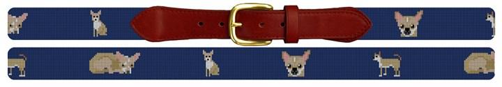 Chihuahua Needlepoint Belt