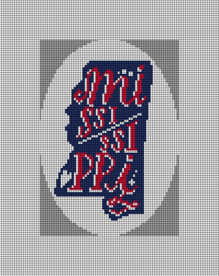Mississippi Needlepoint Ornament Canvas