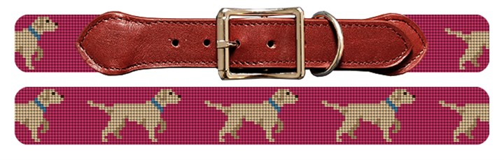 White Lab Needlepoint Dog Collar