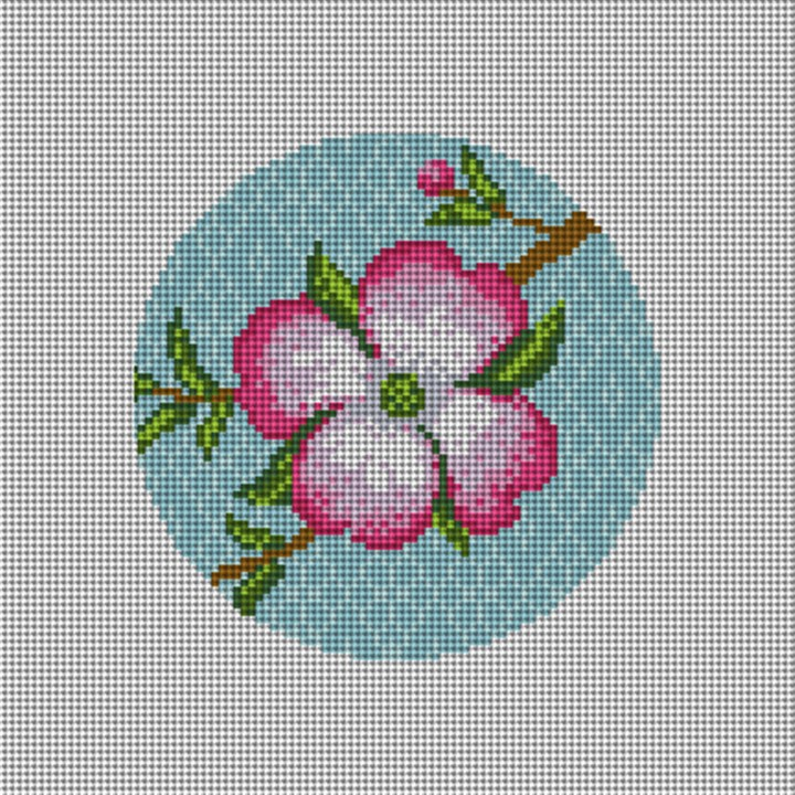 Dogwood Blossom Needlepoint Ornament Canvas