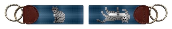 Grey Tabby Cat Needlepoint Key Fob Canvas