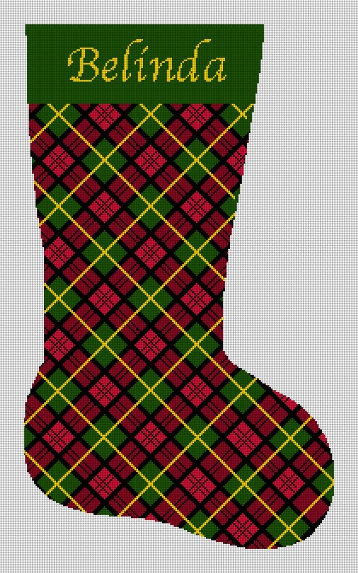 Holiday Tartan Plaid Needlepoint Stocking Canvas