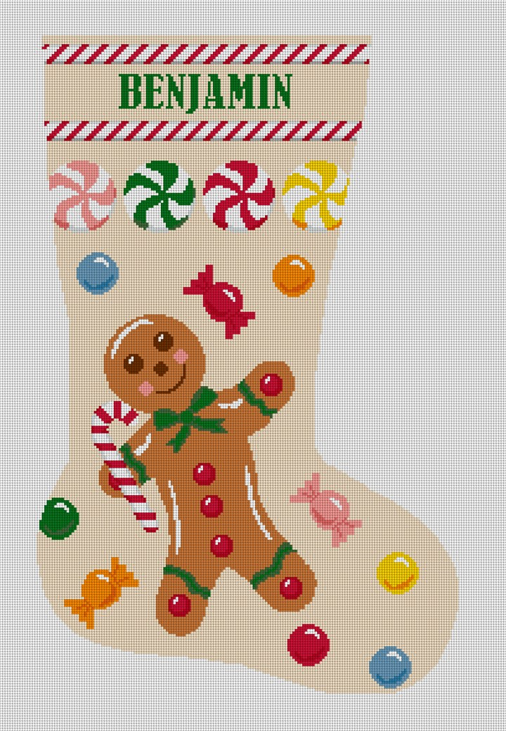 Gingerbread Man Tan Stocking Needlepoint Canvas