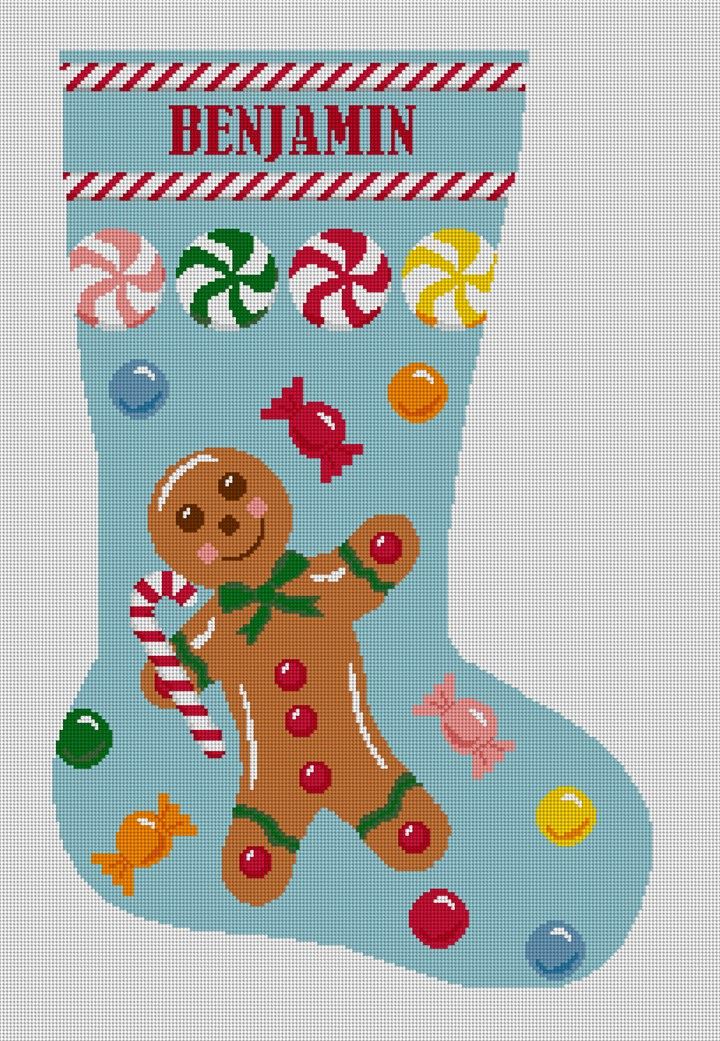 Gingerbread Man Blue Stocking Needlepoint Canvas