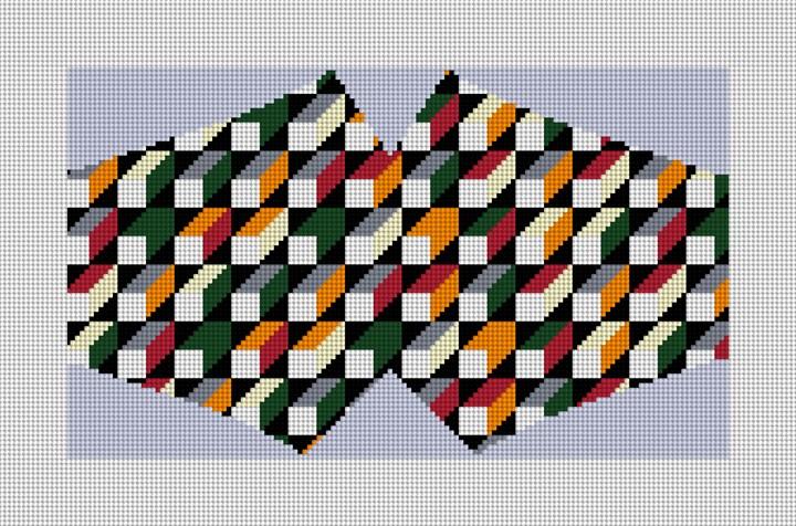 Geometric Mosaic Face Mask Needlepoint Canvas