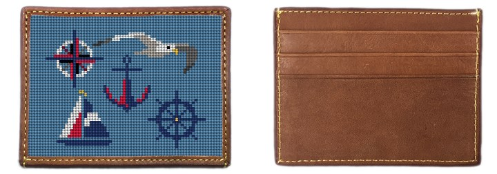 Nautical Needlepoint Card Wallet
