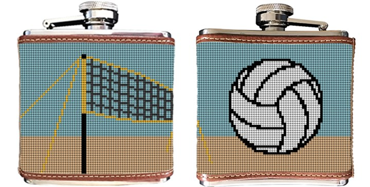 Beach Volleyball Needlepoint Flask Canvas