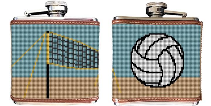 Beach Volleyball Needlepoint Flask