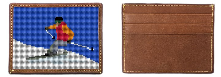 Skiing Needlepoint Card Wallet Canvas