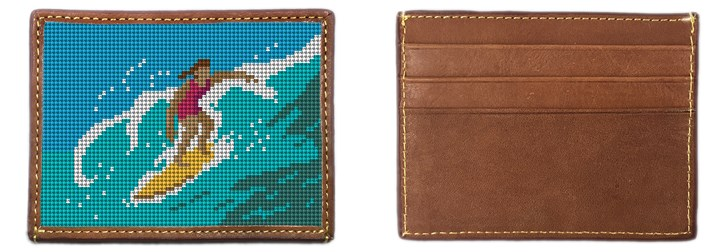 Surfing Girl Needlepoint Card Wallet Canvas