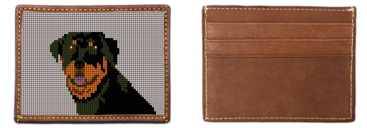 Rottweiler Portrait Needlepoint Card Wallet