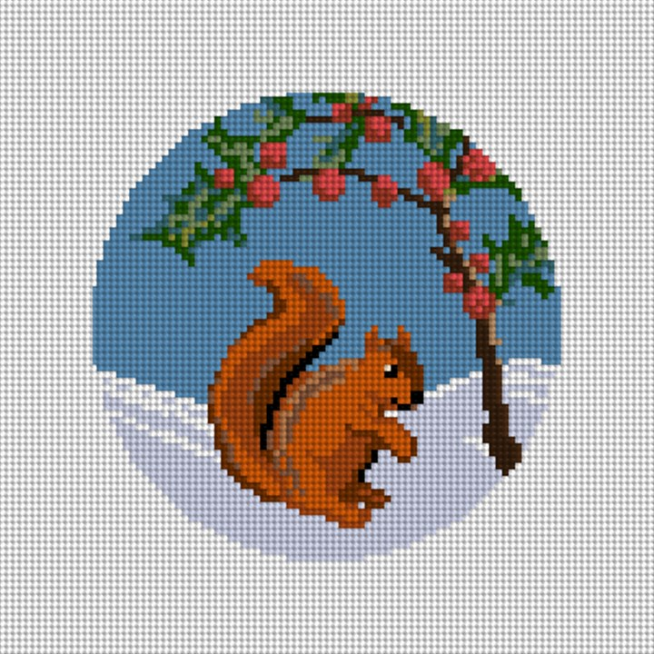 Winter Woodland Squirrel Needlepoint Canvas