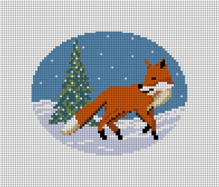 Winter Woodland Fox Needlepoint Ornament Canvas