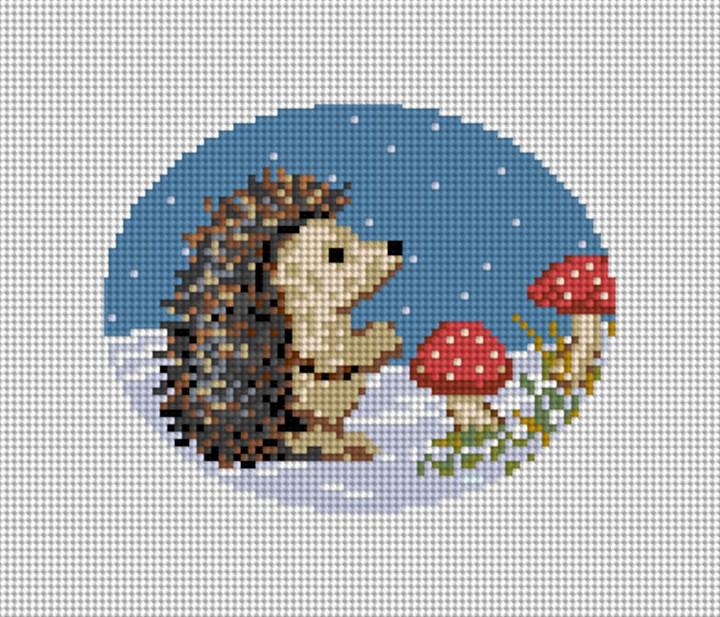 Winter Woodland Hedgehog Needlepoint Canvas