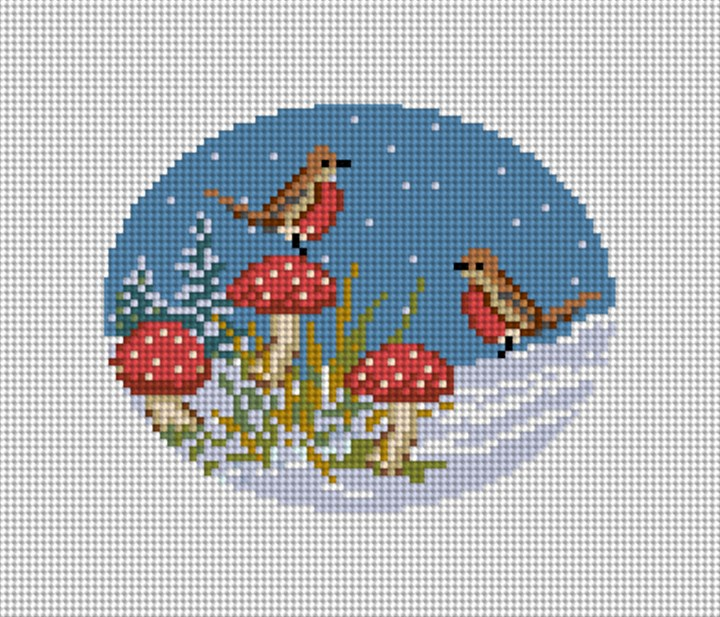 Winter Woodland Robins Needlepoint Ornament Canvas