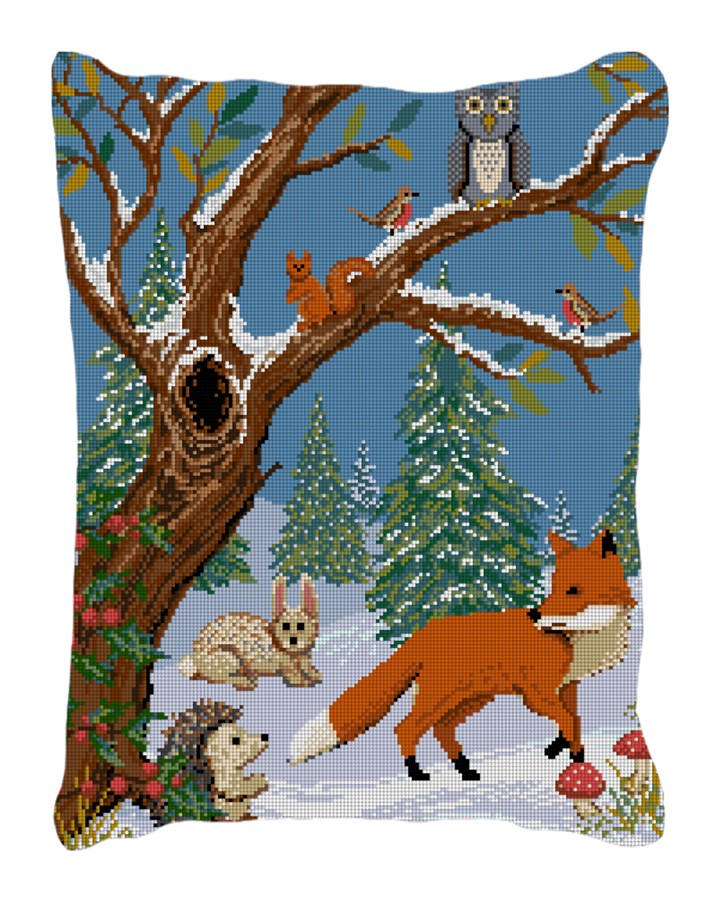 Winter Woodland Needlepoint Pillow