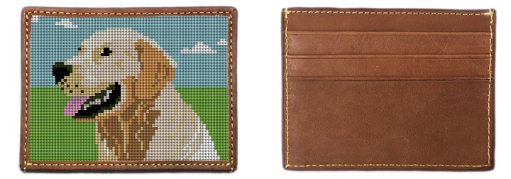 Golden Retriever Portrait Needlepoint Card Wallet