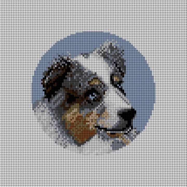 Custom Dog Portrait Needlepoint Ornament Canvas