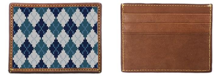 Preppy Argyle Needlepoint Card Wallet