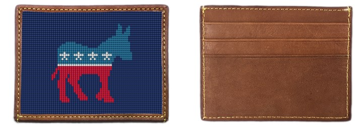 Democratic Needlepoint Card Wallet