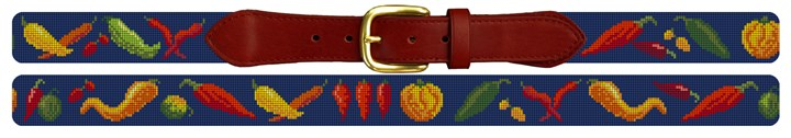 Chili Peppers Needlepoint Belt