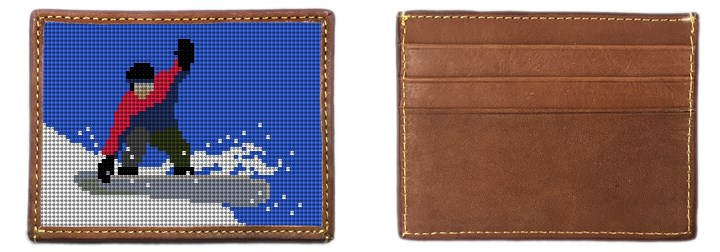 Snowboarding Needlepoint Card Wallet Canvas